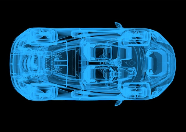 Top view of a wireframe blue car