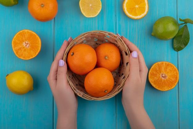 トップビューの女性は、ターコイズブルーの背景にライムとレモンのバスケットにオレンジをカットします。