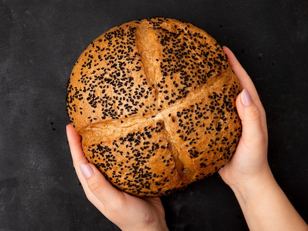 Top view of woman hands holding poppy seed cob on black background