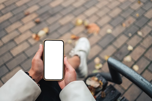 Top view of a woman hands holding smartphone with white blank screen. copy space in autumn garden. female reading text and watching video on a mobile phone