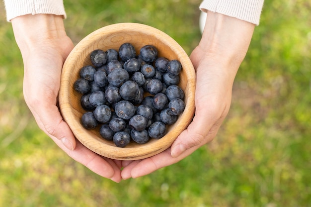 Top view woman holding bowl with blueberries