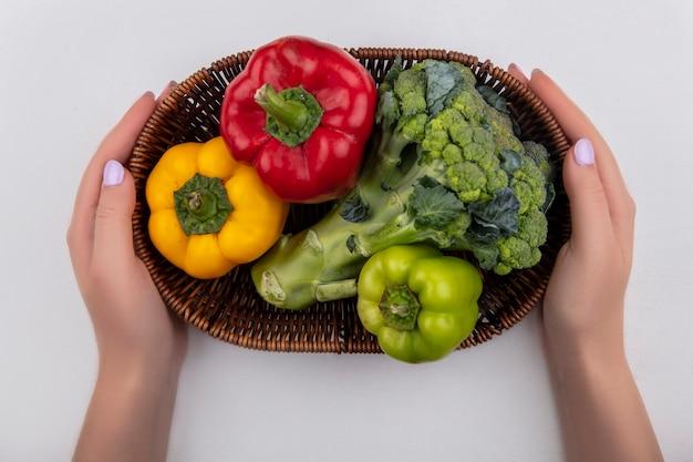 Donna di vista superiore che tiene broccoli con peperoni colorati in un cesto su uno sfondo bianco