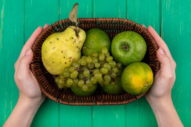 緑の壁のバスケットに梨みかんとブドウと青リンゴを保持している上面図の女性