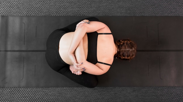 Top view woman sport at home concept