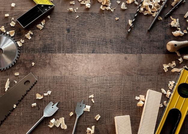 책상에 상위 뷰 나무 도구 무료 사진
