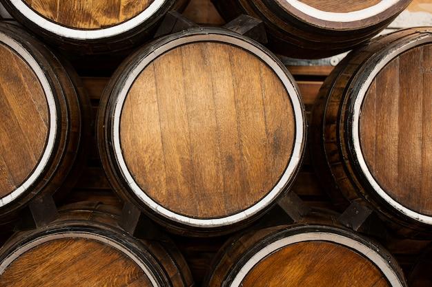 Top view of wooden barrels
