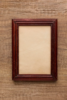 Top view of wooden frame with copy space