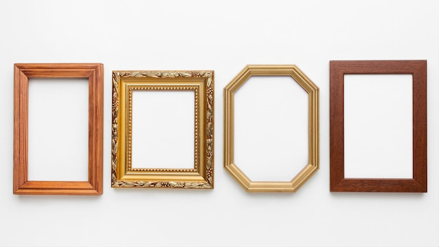 Top view of wooden frames arrangement