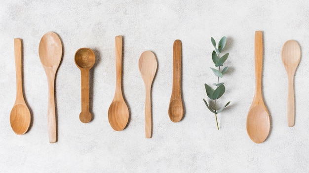 Top view wooden spoons collection
