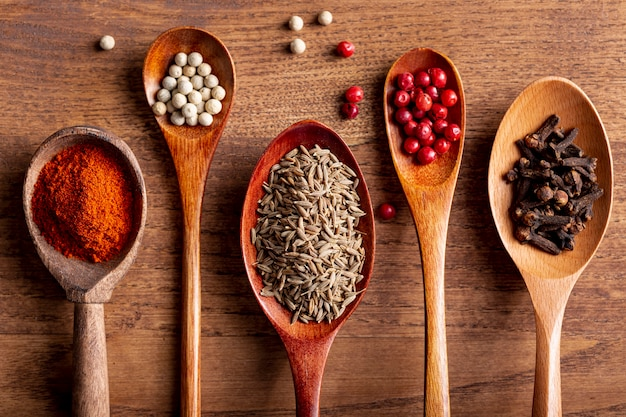 Top view of wooden spoons with spices