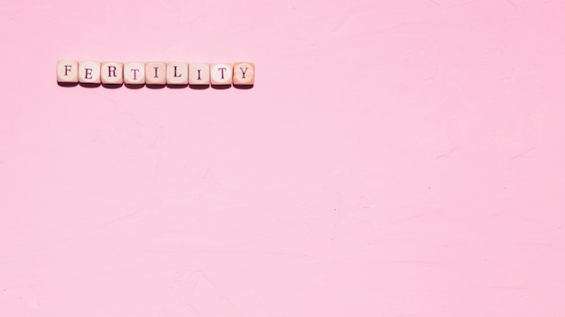 Top view word on pink background