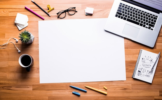 Top view of work table with white copy space background