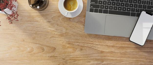 Вид сверху рабочий стол с ноутбуком, смартфон, макет, копия пространства, деревянный фон, 3d-рендеринг