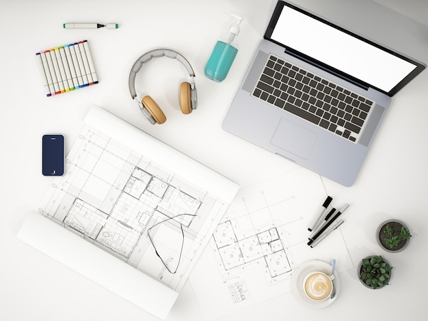 Top view of working space with screen laptop and structure drawing paper on white table