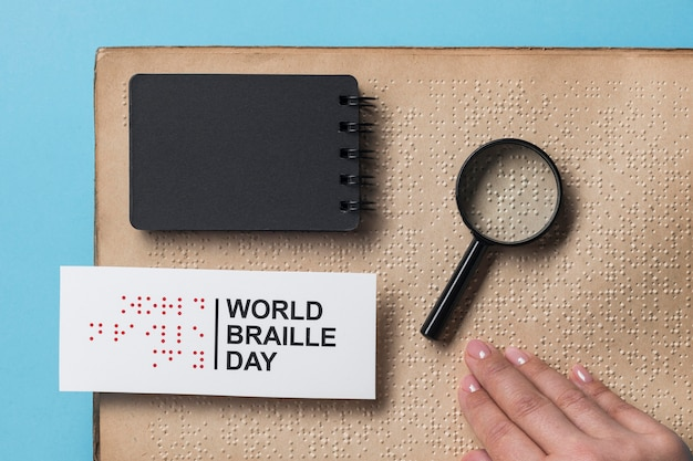 Top view world braille day concept