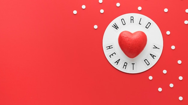 Top view world heart day concept with copy space