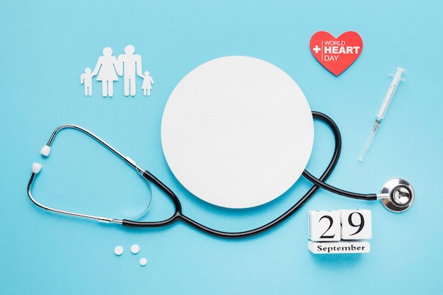 Top view world heart day concept with stethoscope