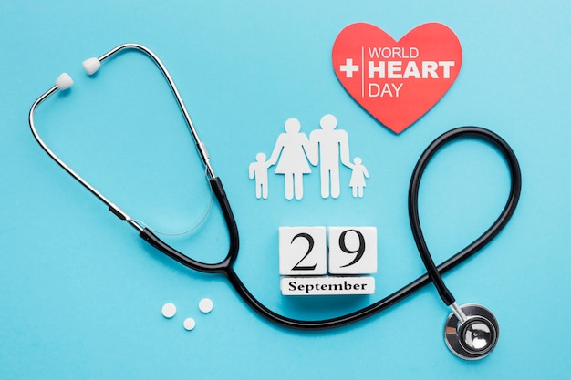 Top view world heart day concept
