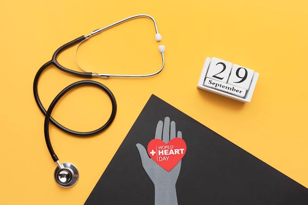 Top view world heart day stethoscope