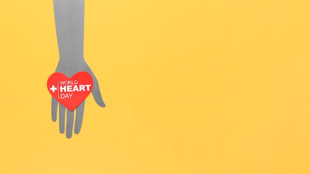 Top view world heart day with copy space