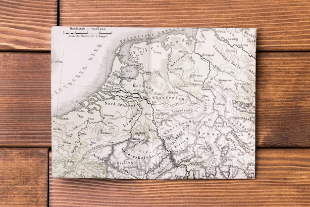 Top view world map on table