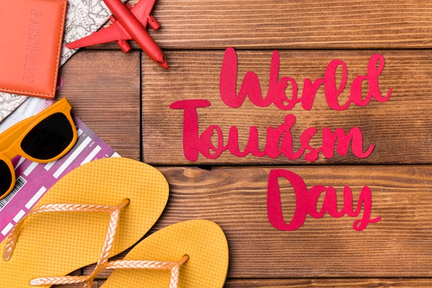 Top view world tourism day lettering