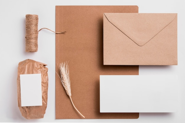 Top view wrapped bread with packaging stationery
