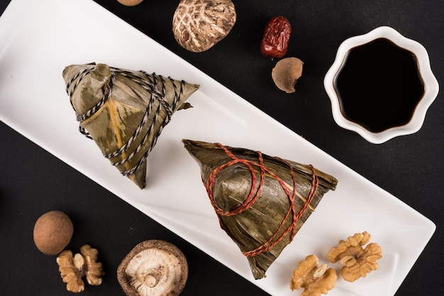 Top view of wrapped food