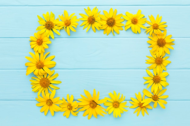 Top view yellow daisies frame