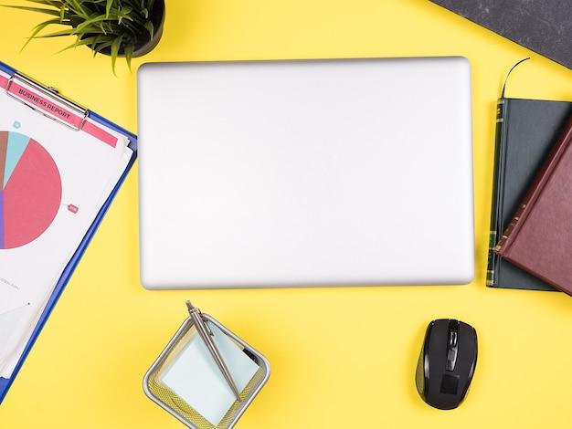 Vista dall'alto della scrivania gialla di un uomo d'affari, libri, vaso d'erba, appunti, appunti, penna