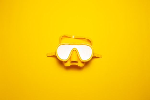 Top view of yellow diving mask isolated