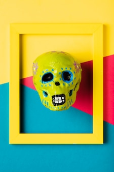 Top view yellow frame with yellow skull