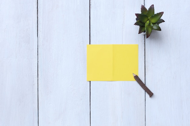 Top view yellow paper, pencil and flower pot on white wood floor and have copy space.