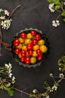 Vista dall'alto giallo rosso pomodori freschi maturi all'interno della piastra su sfondo scuro