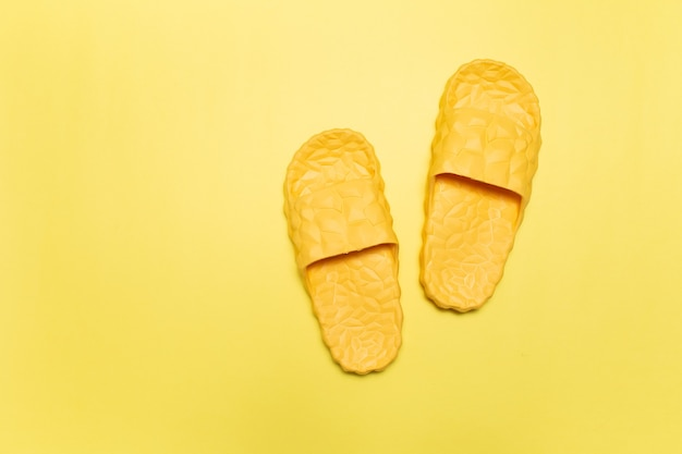 Top view of yellow slippers