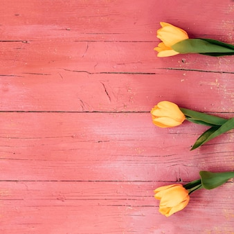 Top view of yellow tulip flowers on wooden floor