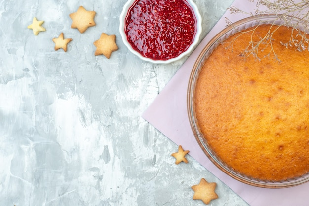 Top view yummy baked pie on white background dessert dough pie cake sweet biscuit bake sugar