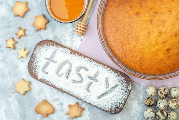 Top view yummy baked pie on white background dessert tasty dough pie cake sweet biscuit bake sugar