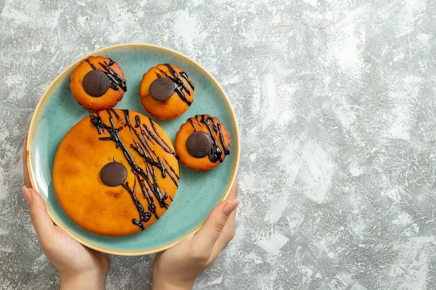 Top view yummy cocoa cakes with chocolate icing inside plate on white surface cake biscuit dessert sweet cookies pie