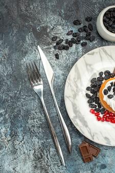 Vista dall'alto gustosissima torta cremosa con cioccolato e uvetta su sfondo chiaro-scuro