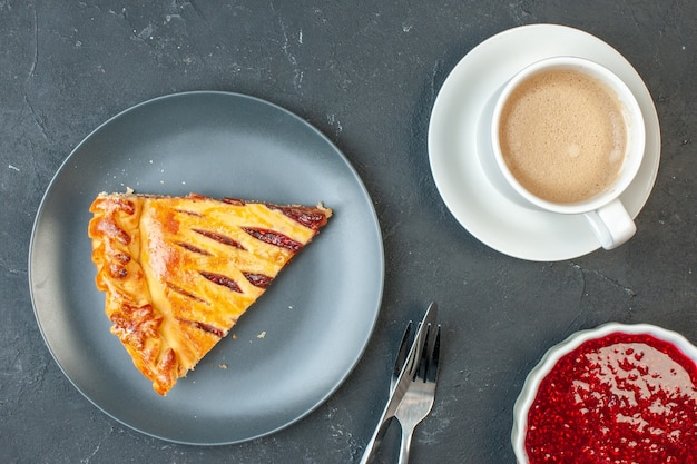 Top view yummy fruit pie with jam on dark dough dessert biscuit sugar pie bake tea cake sweet