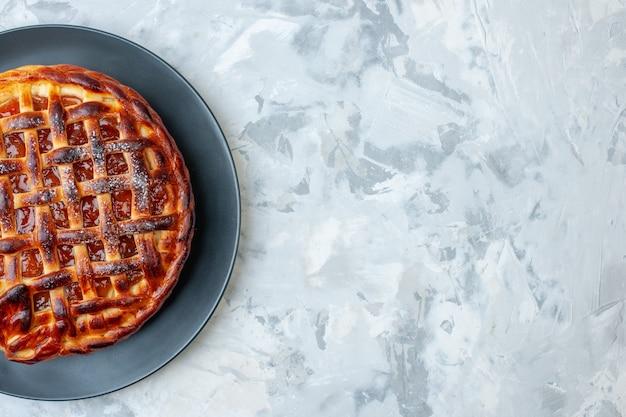 上面図ライトベイク写真ビスケットクッキーパイデザートカラーティーケーキ空きスペースにゼリーとおいしいフルーティーパイ