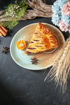 Top view yummy jelly pie slice of it on a dark background biscuit pie oven dessert bake sweet dough sugar cake