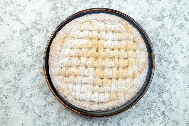 Top view yummy sweet pie sugar powdered inside pan on white background biscuit cake pastry bake sugar cookie tea