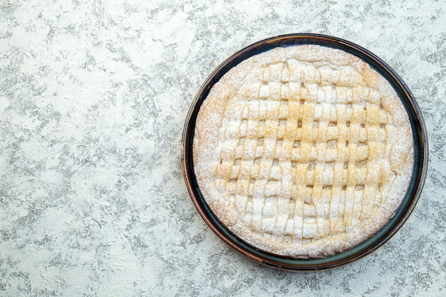 Top view yummy sweet pie sugar powdered inside pan on white background cake pastry bake sugar cookie tea