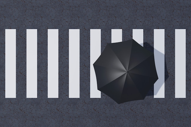 Top view of zebra crossing with minimal concepts. 3d rendering.