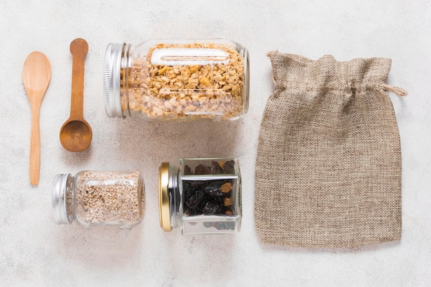 Top view zero waste products