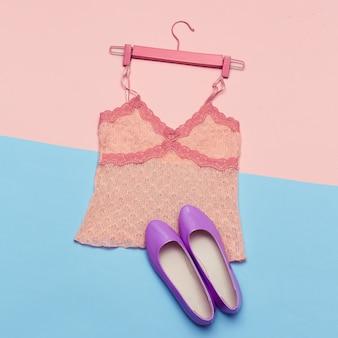 Романтическая летняя одежда и обувь для леди top view