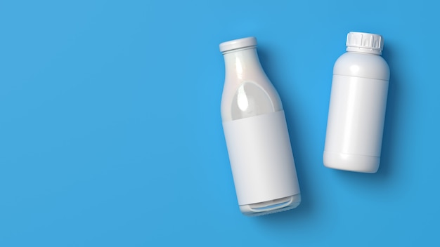 Top viewed lying milk glass and plastic bottles