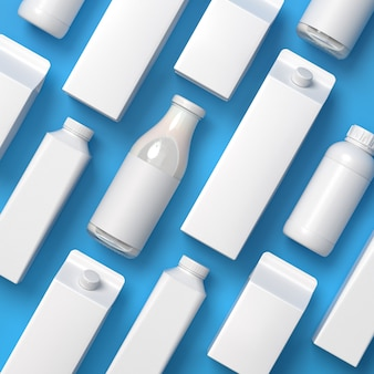 Top viewed rotated 5 types of blank lying milk packaging on the blue surface. 3d illustration